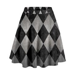 Square2 Black Marble & Gray Metal 1 High Waist Skirt by trendistuff