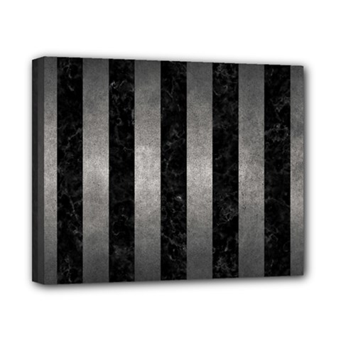 Stripes1 Black Marble & Gray Metal 1 Canvas 10  X 8  by trendistuff