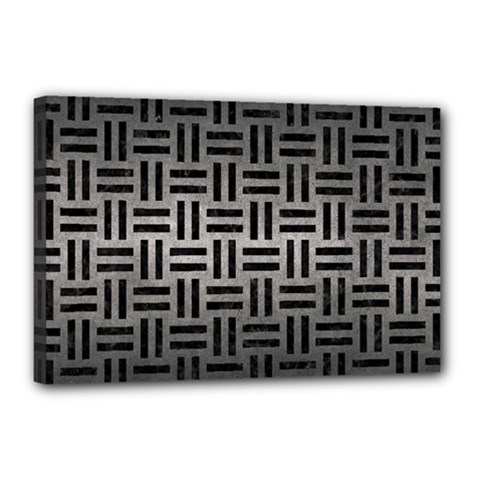 Woven1 Black Marble & Gray Metal 1 (r) Canvas 18  X 12  by trendistuff