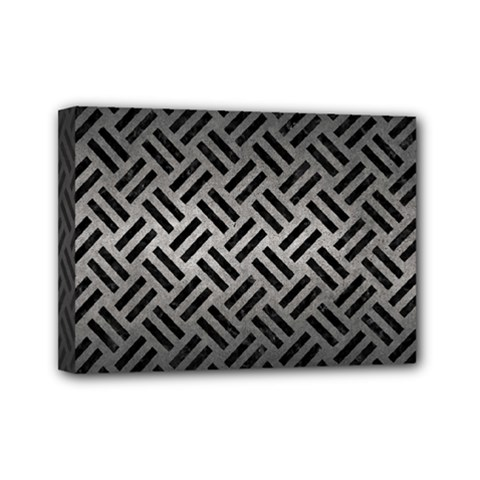 Woven2 Black Marble & Gray Metal 1 (r) Mini Canvas 7  X 5  by trendistuff