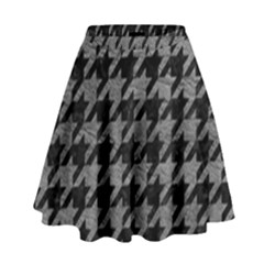 Houndstooth1 Black Marble & Gray Leather High Waist Skirt by trendistuff