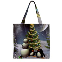 Funny Snowman With Penguin And Christmas Tree Grocery Tote Bag by FantasyWorld7