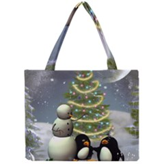 Funny Snowman With Penguin And Christmas Tree Mini Tote Bag by FantasyWorld7