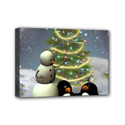 Funny Snowman With Penguin And Christmas Tree Mini Canvas 7  X 5  by FantasyWorld7