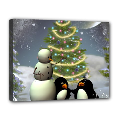 Funny Snowman With Penguin And Christmas Tree Canvas 14  X 11  by FantasyWorld7