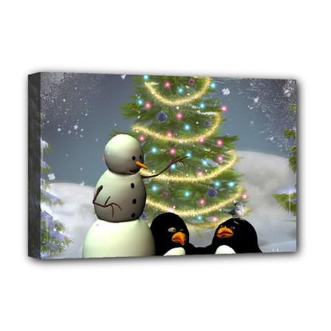 Funny Snowman With Penguin And Christmas Tree Deluxe Canvas 18  X 12   by FantasyWorld7