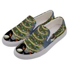 Funny Snowman With Penguin And Christmas Tree Men s Canvas Slip Ons by FantasyWorld7