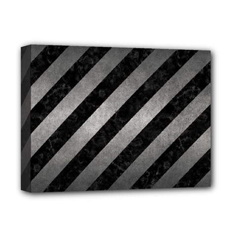 Stripes3 Black Marble & Gray Metal 1 Deluxe Canvas 16  X 12   by trendistuff