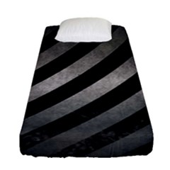 Stripes3 Black Marble & Gray Metal 1 Fitted Sheet (single Size) by trendistuff