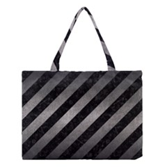 Stripes3 Black Marble & Gray Metal 1 Medium Tote Bag by trendistuff