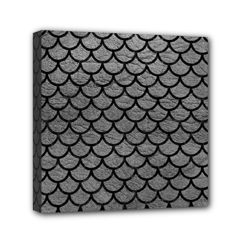 Scales1 Black Marble & Gray Leather (r) Mini Canvas 6  X 6  by trendistuff