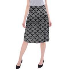 Scales1 Black Marble & Gray Leather (r) Midi Beach Skirt by trendistuff