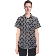 Scales1 Black Marble & Gray Leather (r) Women s Short Sleeve Shirt