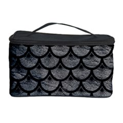 Scales3 Black Marble & Gray Leather (r) Cosmetic Storage Case by trendistuff