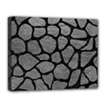 SKIN1 BLACK MARBLE & GRAY LEATHER Canvas 14  x 11