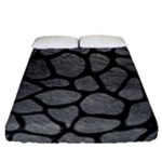 SKIN1 BLACK MARBLE & GRAY LEATHER Fitted Sheet (Queen Size)