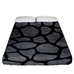 SKIN1 BLACK MARBLE & GRAY LEATHER Fitted Sheet (King Size)