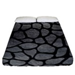SKIN1 BLACK MARBLE & GRAY LEATHER Fitted Sheet (California King Size)