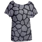 SKIN1 BLACK MARBLE & GRAY LEATHER Women s Oversized Tee