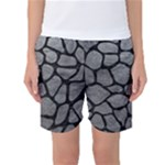 SKIN1 BLACK MARBLE & GRAY LEATHER Women s Basketball Shorts