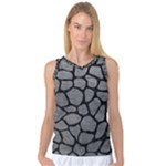 SKIN1 BLACK MARBLE & GRAY LEATHER Women s Basketball Tank Top
