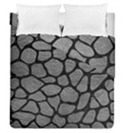 SKIN1 BLACK MARBLE & GRAY LEATHER Duvet Cover Double Side (Queen Size)