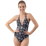 SKIN1 BLACK MARBLE & GRAY LEATHER Halter Cut-Out One Piece Swimsuit