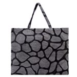 SKIN1 BLACK MARBLE & GRAY LEATHER Zipper Large Tote Bag