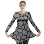 SKIN1 BLACK MARBLE & GRAY LEATHER Long Sleeve Tunic