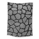 SKIN1 BLACK MARBLE & GRAY LEATHER Medium Tapestry
