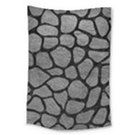 SKIN1 BLACK MARBLE & GRAY LEATHER Large Tapestry