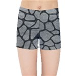 SKIN1 BLACK MARBLE & GRAY LEATHER Kids Sports Shorts