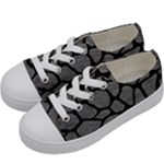SKIN1 BLACK MARBLE & GRAY LEATHER Kids  Low Top Canvas Sneakers