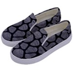 SKIN1 BLACK MARBLE & GRAY LEATHER Kids  Canvas Slip Ons