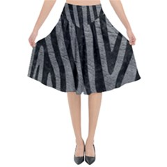 Skin4 Black Marble & Gray Leather Flared Midi Skirt by trendistuff
