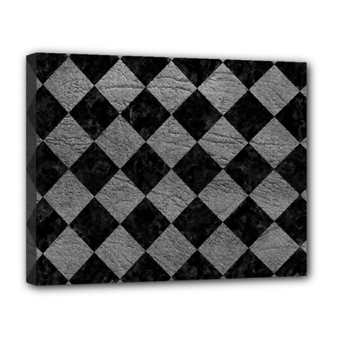 Square2 Black Marble & Gray Leather Canvas 14  X 11  by trendistuff