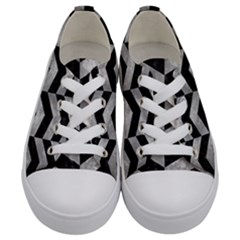 Chevron2 Black Marble & Gray Metal 2 Kids  Low Top Canvas Sneakers