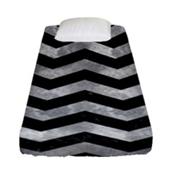 Chevron3 Black Marble & Gray Metal 2 Fitted Sheet (single Size) by trendistuff