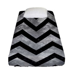 Chevron9 Black Marble & Gray Metal 2 (r) Fitted Sheet (single Size) by trendistuff