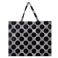 Circles2 Black Marble & Gray Metal 2 (r) Zipper Large Tote Bag by trendistuff