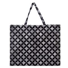 Circles3 Black Marble & Gray Metal 2 (r) Zipper Large Tote Bag by trendistuff