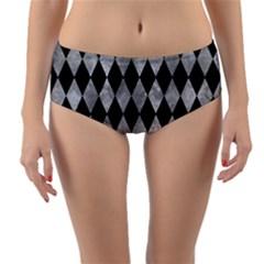 Diamond1 Black Marble & Gray Metal 2 Reversible Mid Waist Bikini Bottoms