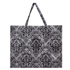Damask1 Black Marble & Gray Metal 2 (r) Zipper Large Tote Bag by trendistuff