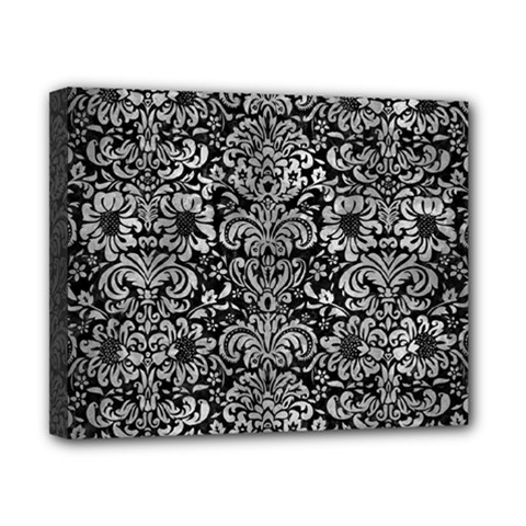 Damask2 Black Marble & Gray Metal 2 Canvas 10  X 8  by trendistuff