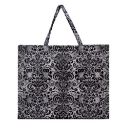 Damask2 Black Marble & Gray Metal 2 (r) Zipper Large Tote Bag