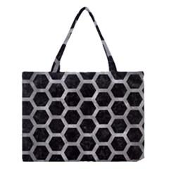Hexagon2 Black Marble & Gray Metal 2 Medium Tote Bag by trendistuff