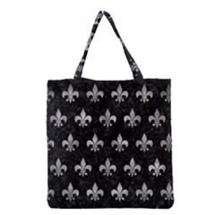 Royal1 Black Marble & Gray Metal 2 (r) Grocery Tote Bag by trendistuff