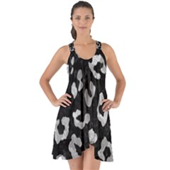 Skin5 Black Marble & Gray Metal 2 (r) Show Some Back Chiffon Dress by trendistuff