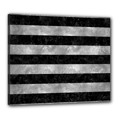 Stripes2 Black Marble & Gray Metal 2 Canvas 24  X 20  by trendistuff
