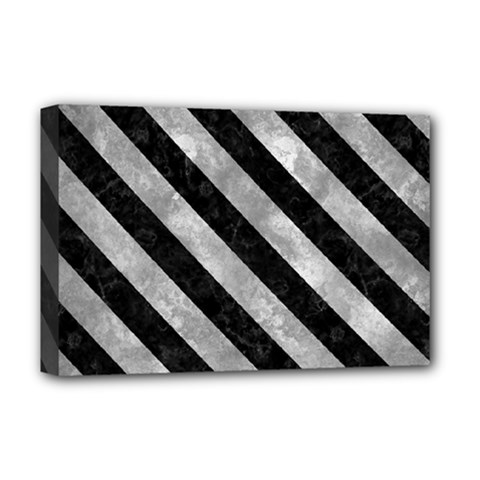 Stripes3 Black Marble & Gray Metal 2 (r) Deluxe Canvas 18  X 12   by trendistuff